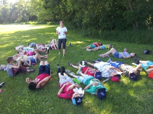 Rebecca from Vinyasa Yoga for Youth came to teach us yoga in the nice shaded parts of our beautiful park
