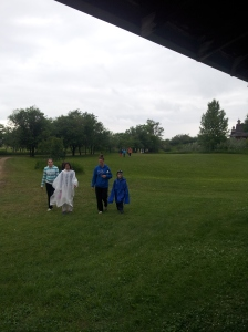 Today it rained and we all put our rain gear on.